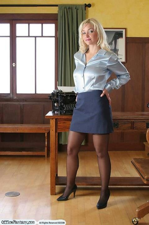 b86efbaf3ec Charcoal Skirt Silver Satin Blouse Sheer Black Pantyhose and Black High  Heels