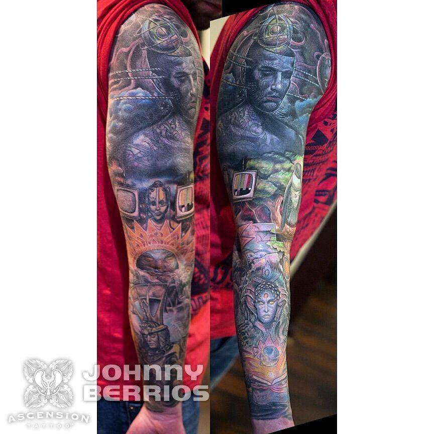 Colorful sleeve tattoo by johnny berrios orlando fl www