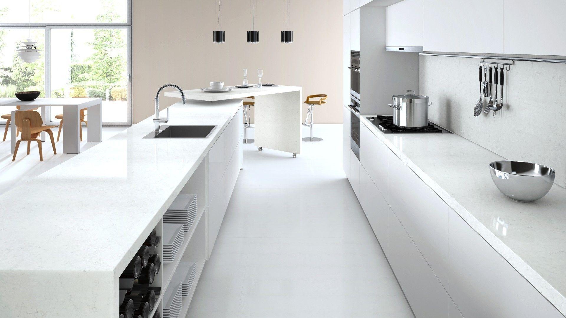 Caesarstone designer kitchens - Kitchen Surface Caesarstone Frosty Carrina