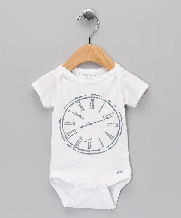 Team Chipmunk White Clock Bodysuit - Infant by Team Chipmunk #zulily #zulilyfinds