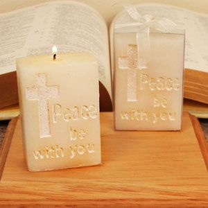 """""""Peace Be with You"""" Rectangular Block Candle RB7794CO-rb"""