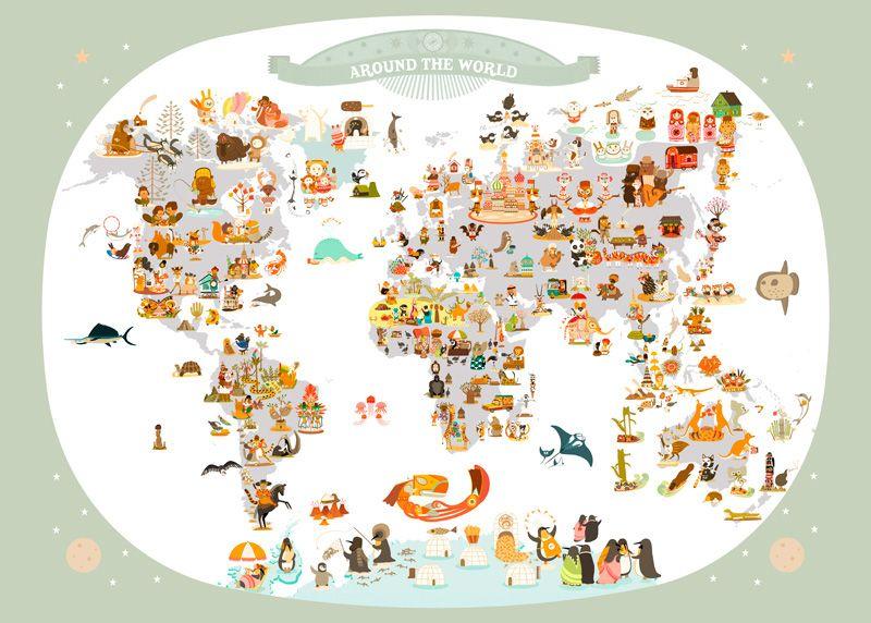 affiche carte du monde Affiche Carte du Monde Illustrée pour Enfants de Julie Mercier