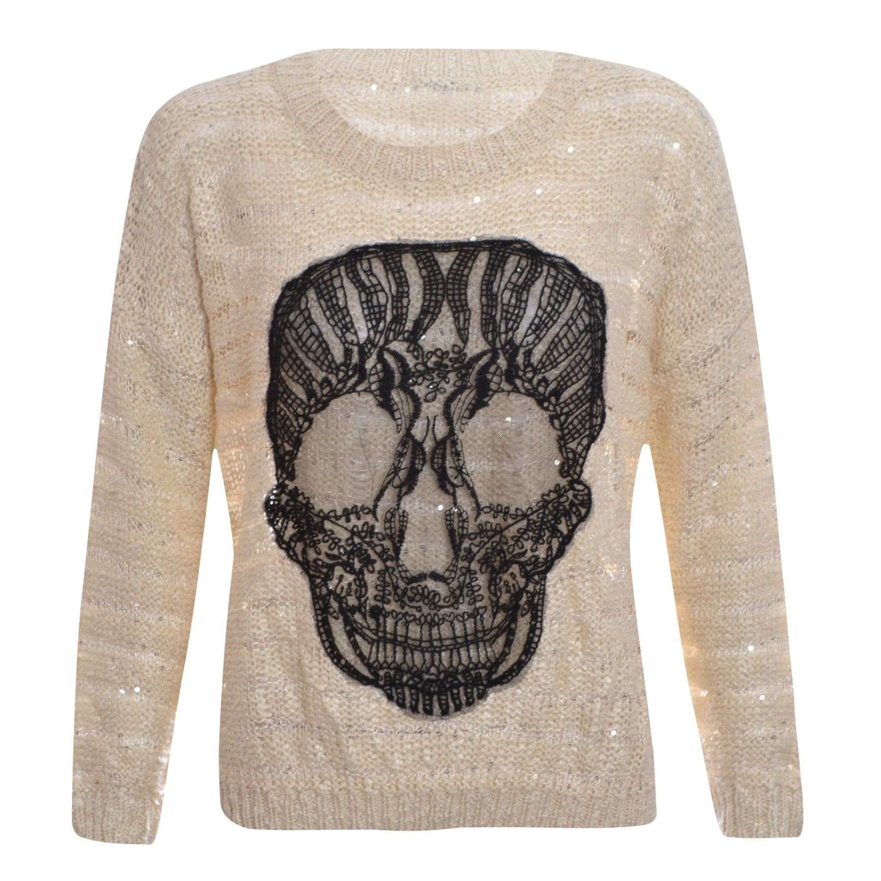 Lorena Beige Crochet Skull Sequin Jumper | My Style | Pinterest