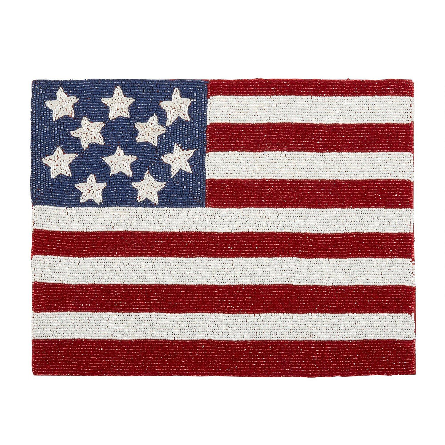 Glass beaded Patriotic Americana Flag Stars And Stripes Placemat ...