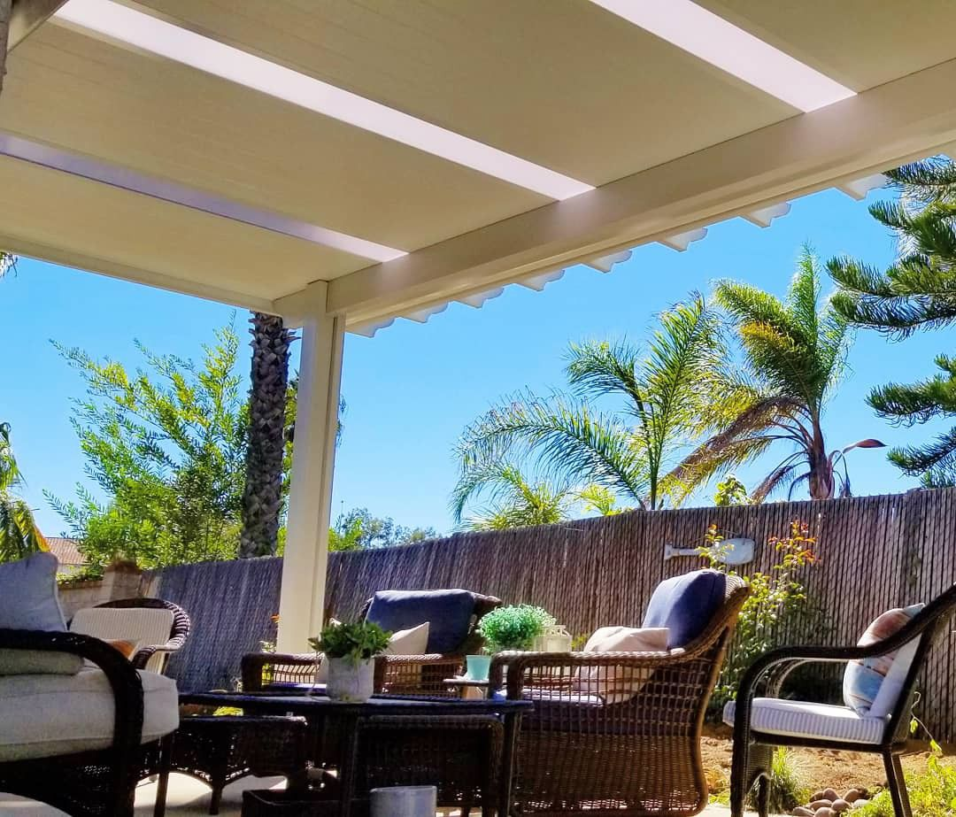 Solid Insulated Patio Cover With Full Length Skylight