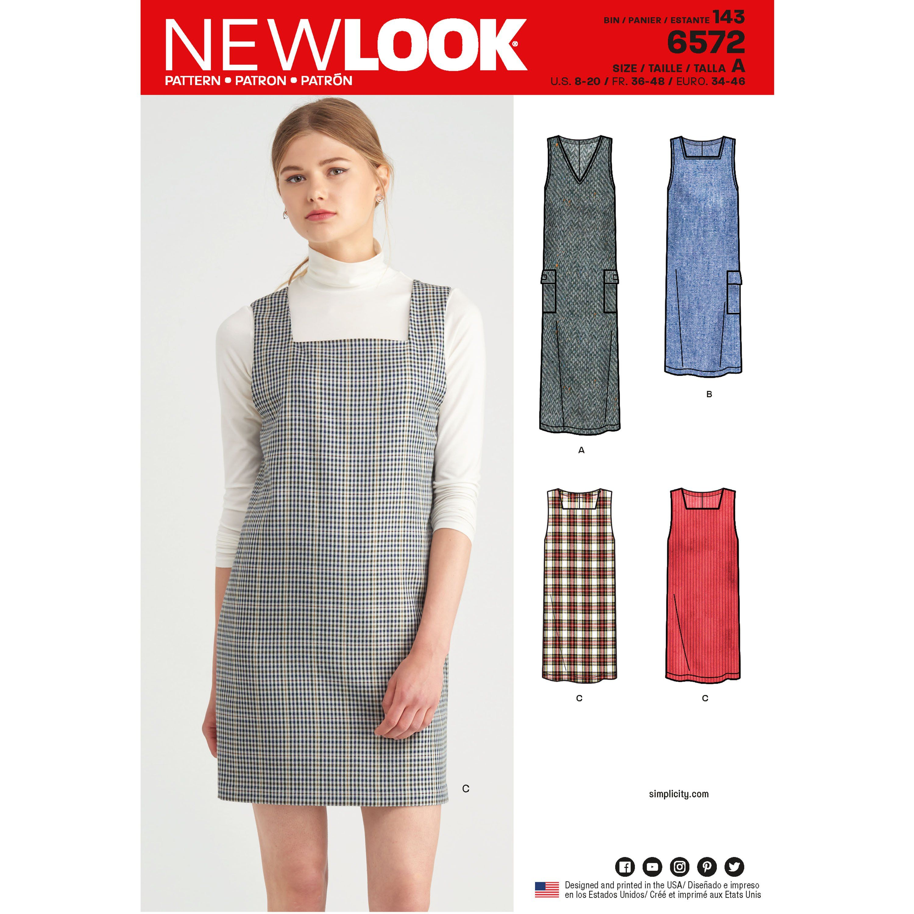 These simple yet stylish missesu jumper dresses feature a square or