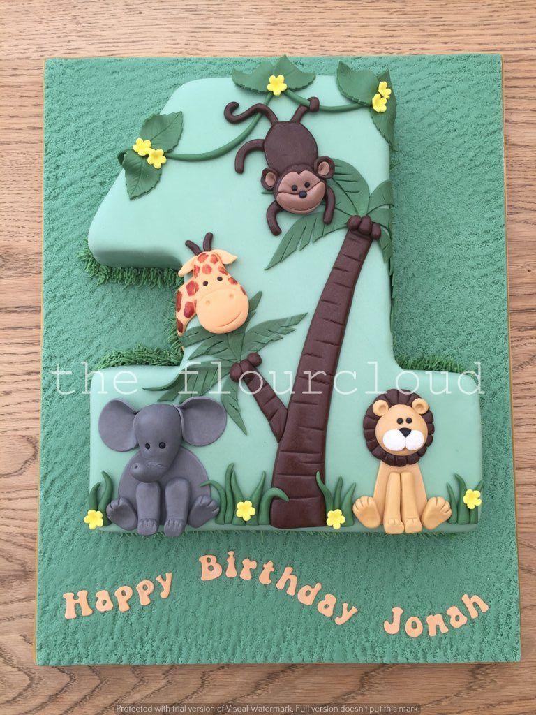 Phenomenal Jungle Themed First Birthday Cake With Elephant Lion Monkey And Personalised Birthday Cards Veneteletsinfo
