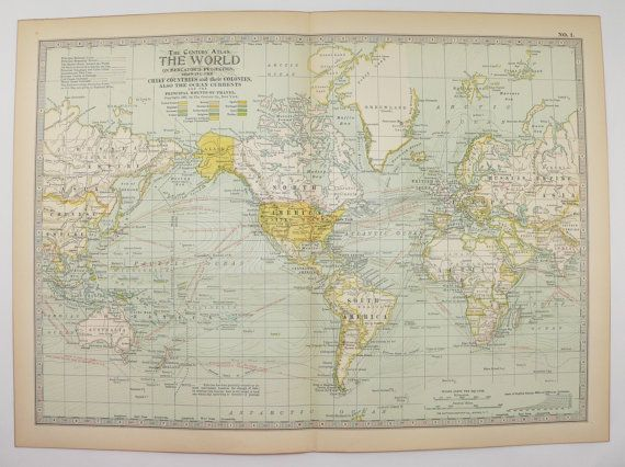 Vintage world map on mercators projection 1901 antique map old vintage world map on mercators projection 1901 antique map old world decor christmas gift for couple vintage wall art world traveler gift available from gumiabroncs Images