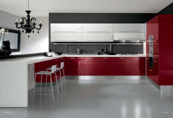 Cuisine grise et rouge  associations harmonieuses en 48 idées - deco salon rouge et blanc