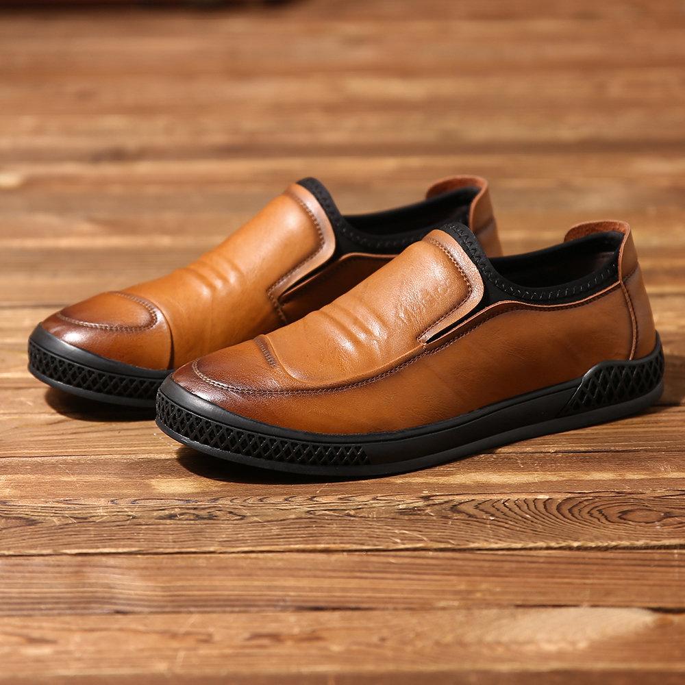 f03d19ef9b Menico Men Microfiber Leather Splicing Elastic Slip On Soft Casual Loafers  - NewChic Καλά Παπούτσια