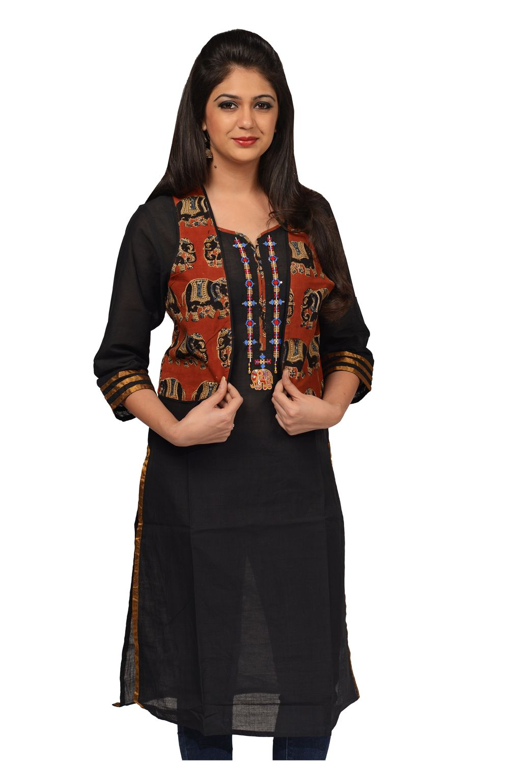2449fbe7a #Kalanjali #Exclusive #Kurti#collection#Black handwoven mangalgiri cotton  kurti with geometric embroidery and kalamkari fabric piping near the yoke,  ...