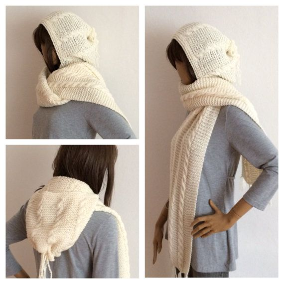 Hooded Scarf, Cable Knit Scarf with Cowl, Knitted Hood, Cowl Scarf ...