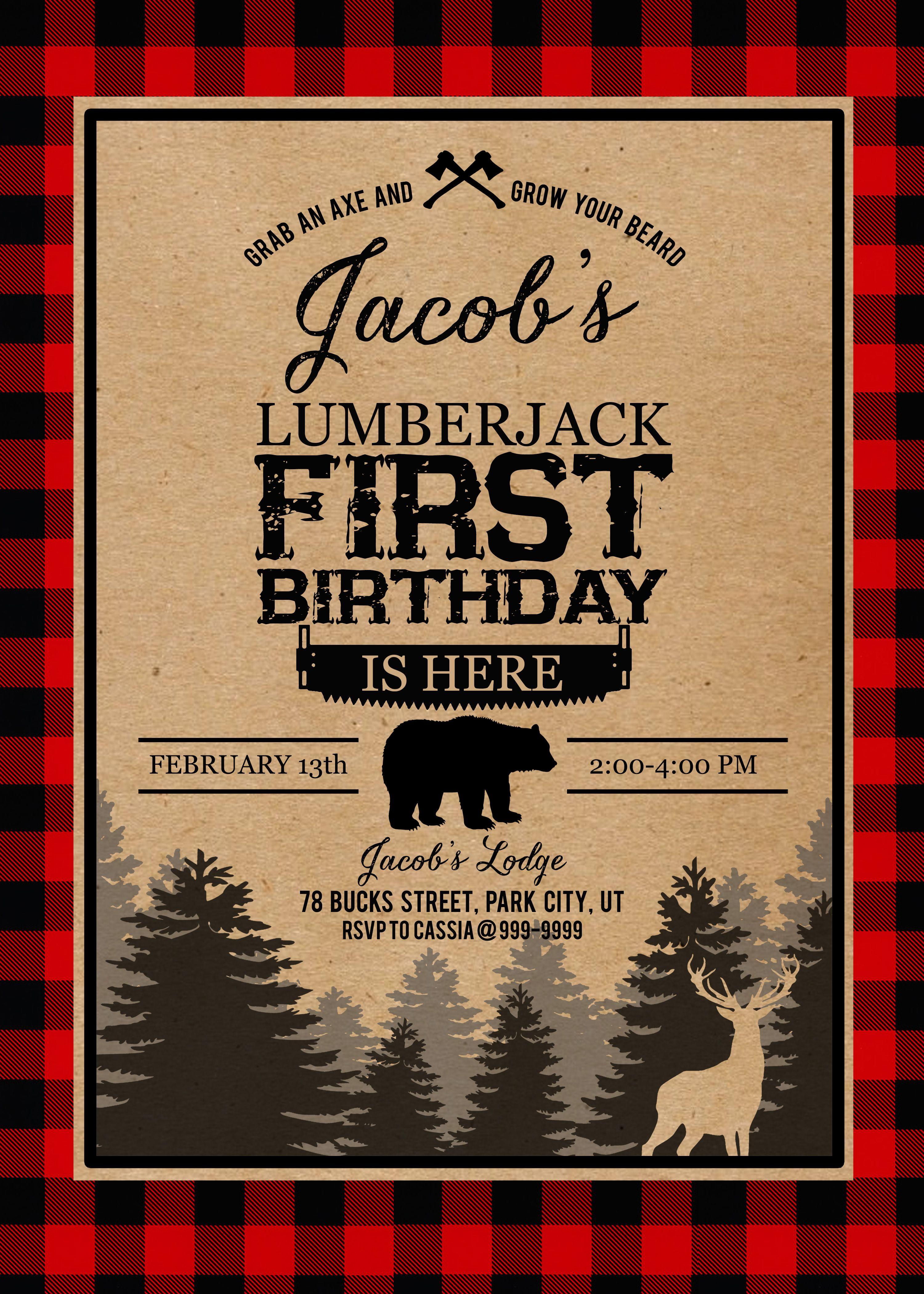 first birthday buffalo plaid lumberjack