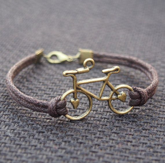 Bike Bracelet Single Bicycle Bronze Brown Leather Men Gift Boy Best Friendship Jewelry