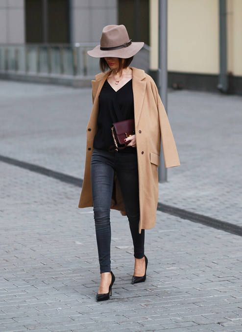 Sonya Karamazova Camel Coat On Shades Of Black Fall Street Style Inspo