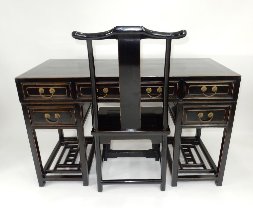 Antique Chinese Black Lacquer Scholars Travel Desk With Yoke Back