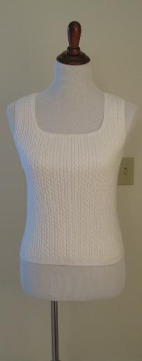 Women's Designer White Cable Tank Top (Sz M)