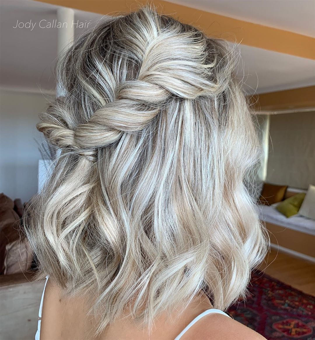 """Bridal + Formal  Hairstylist on Instagram: """"Loving all the short hair at the mo how cute is this hairstyle on one of my bridesmaids with the accent rope braid ! Would you wear this ?…"""" -   18 hair Bridesmaid how to ideas"""