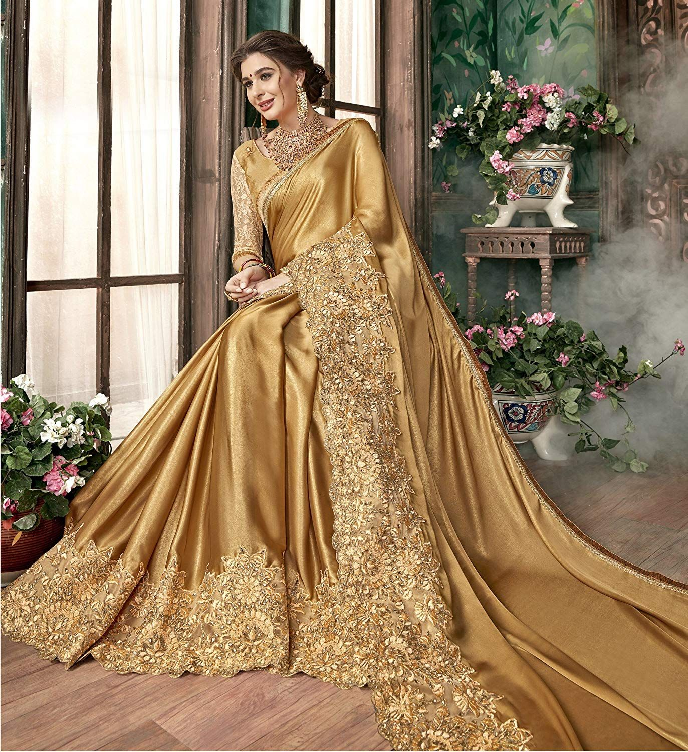 pinmrad on golden | elegant saree, lace saree, golden saree