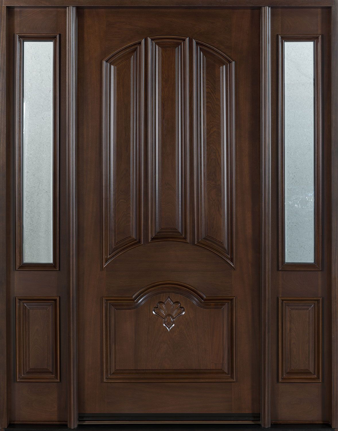 . Mahogany Solid Wood Front Entry Door   Single with 2 Sidelites