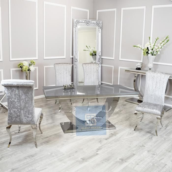 Arial Dining Set   Nicole Chairs - 1.6m / 4 Chairs / White Glass