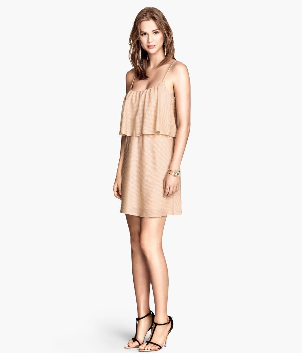 Short powder beige dress with glittery thread and spaghetti straps. A v-neck at the back and ruffle trim at the top make for a fun & flirty feel.│Party in H&M