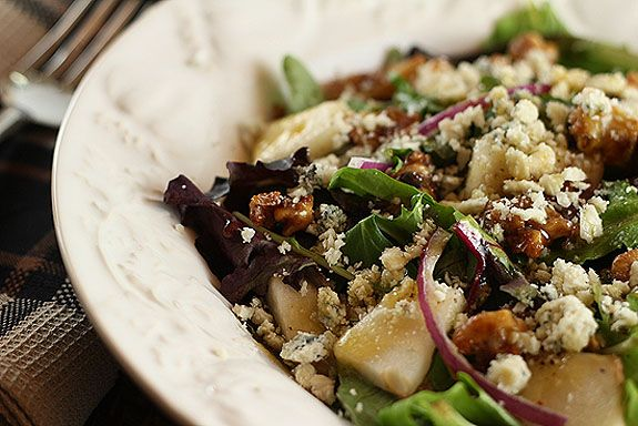 Pear Walnut And Bleu Cheese Salad With Maple Dijon Dressing From