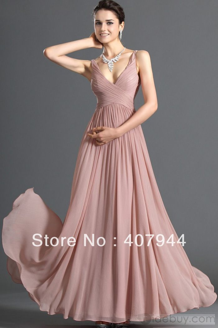 Free shipping new arrival dusty pink chiffon v-neck floor length A ...