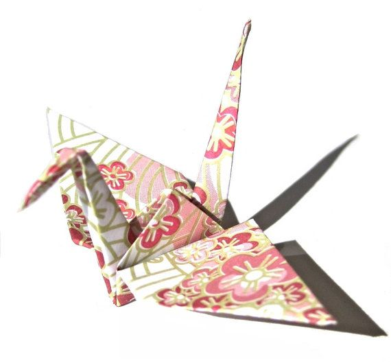 40 Origami Paper Cranes Sakura Print In Pink Customized No Crease Amazing Patterned Origami Paper