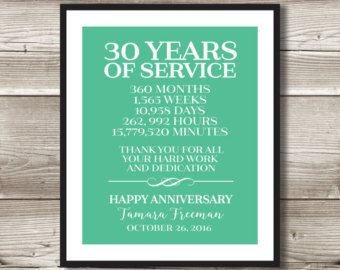 25 Year Work Anniversary Print Gift Idea Customizable Thank You Gift 25 Years Of Service Employee Recognition Appreciation Work Anniversary Anniversary Gifts 40 Years 20 Year Anniversary Gifts