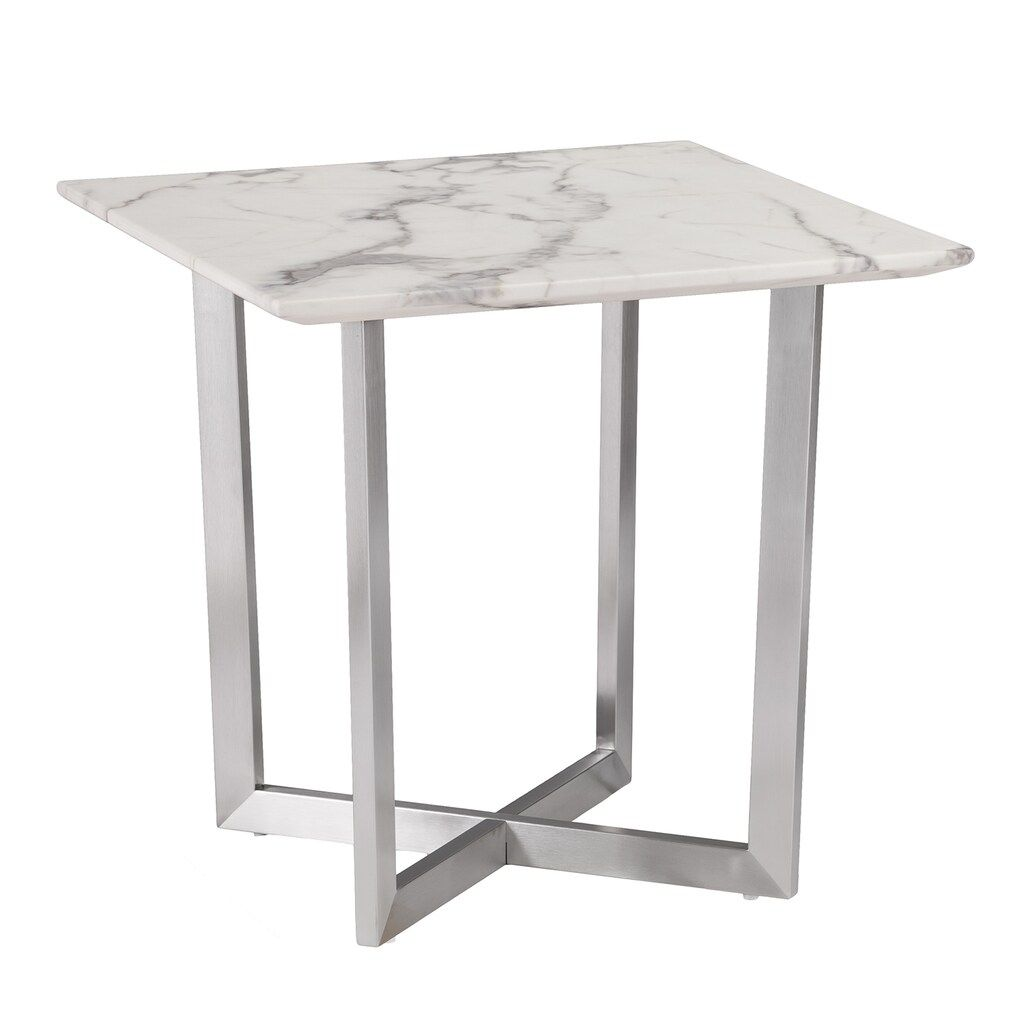Southern Enterprises Wrexham Faux Marble End Table