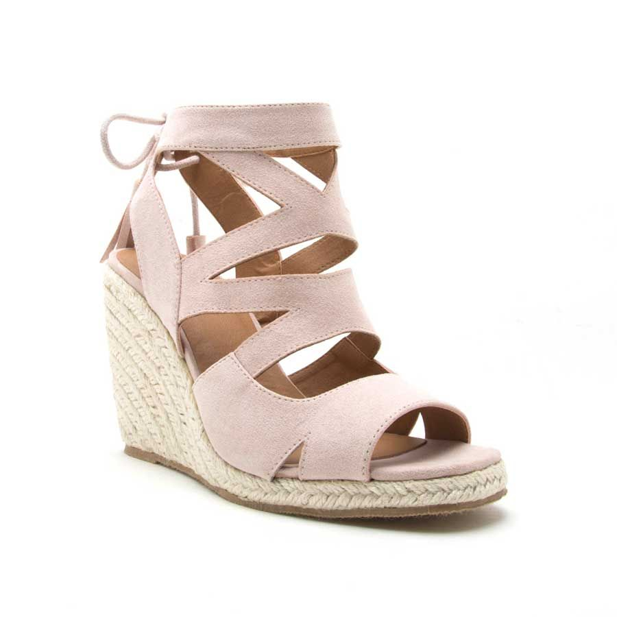 1624ffb178f Qupid Shoes Jello Tie Back Wedges for Women in Nude JELLO-02-NUDE ...