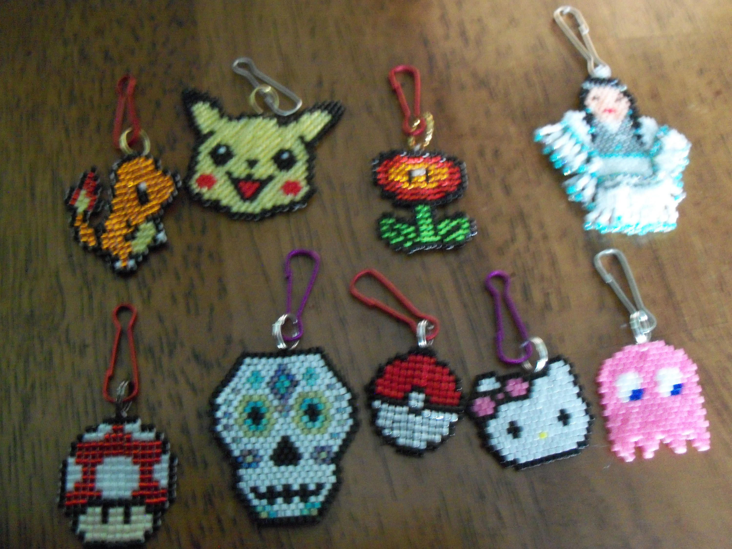 Retro gaming and brickstitch keychains/pendants by StrungOnLove on Etsy