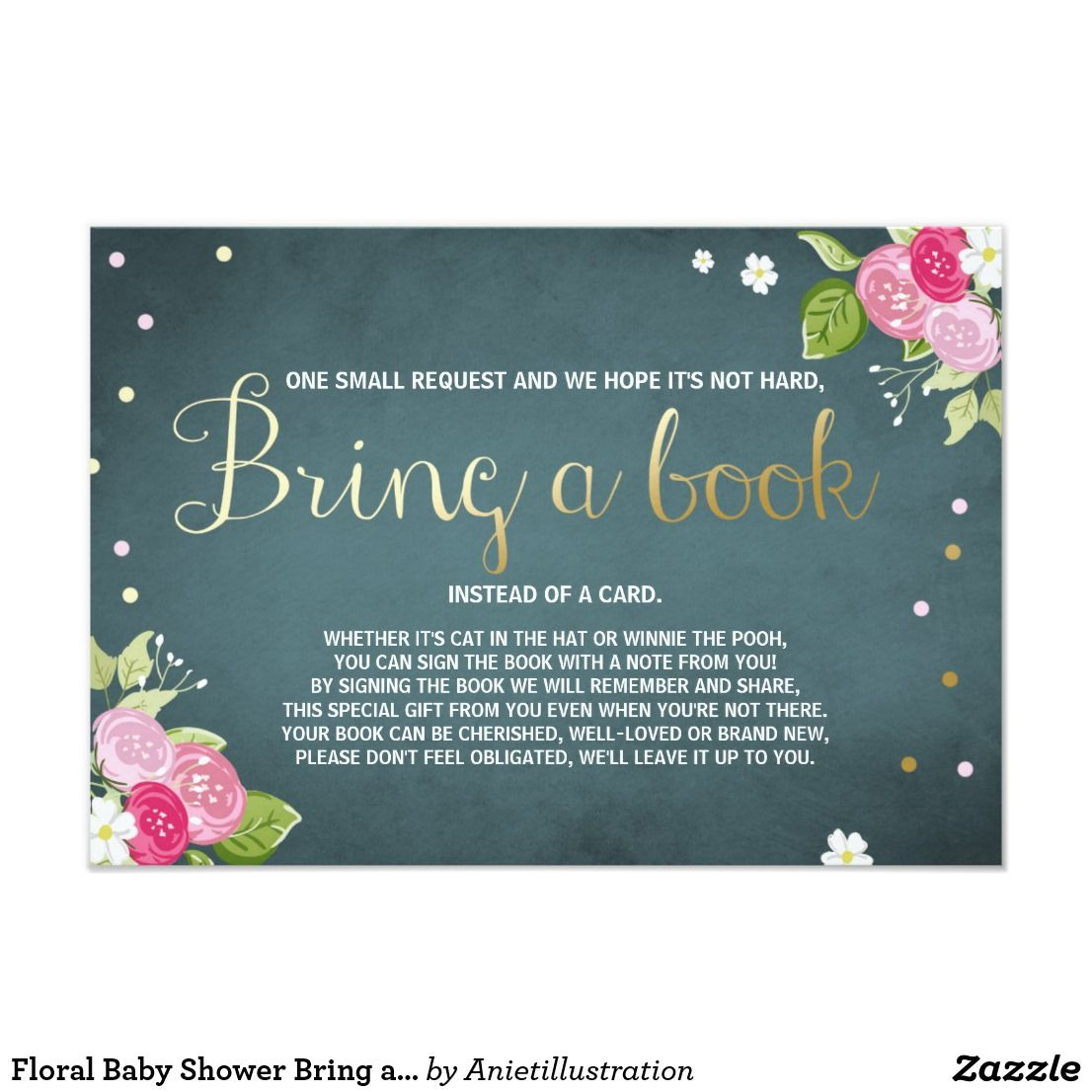 Floral Baby Shower Bring a book card Pink and gold | Zazzle.com | Floral  baby shower, Baby shower, Gold baby showers