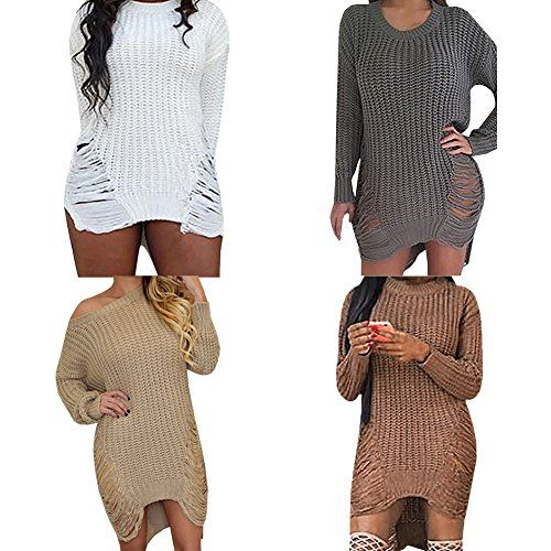 143e963cb29 Women s Pullover Sweaters - Women Sexy Ripped Hole Knitted Sweater Dress  Long Sleeve Casual Pullover Tops Outwear   Learn more by visiting the image  link.