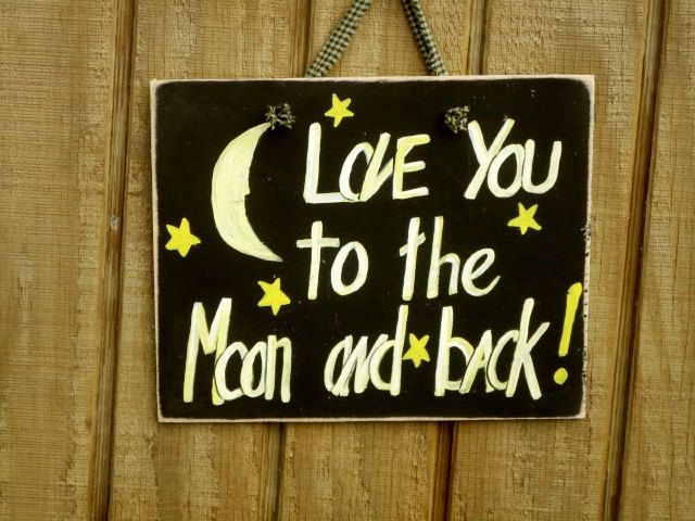 Love you to the moon and back wood sign. $7.99, via Etsy.