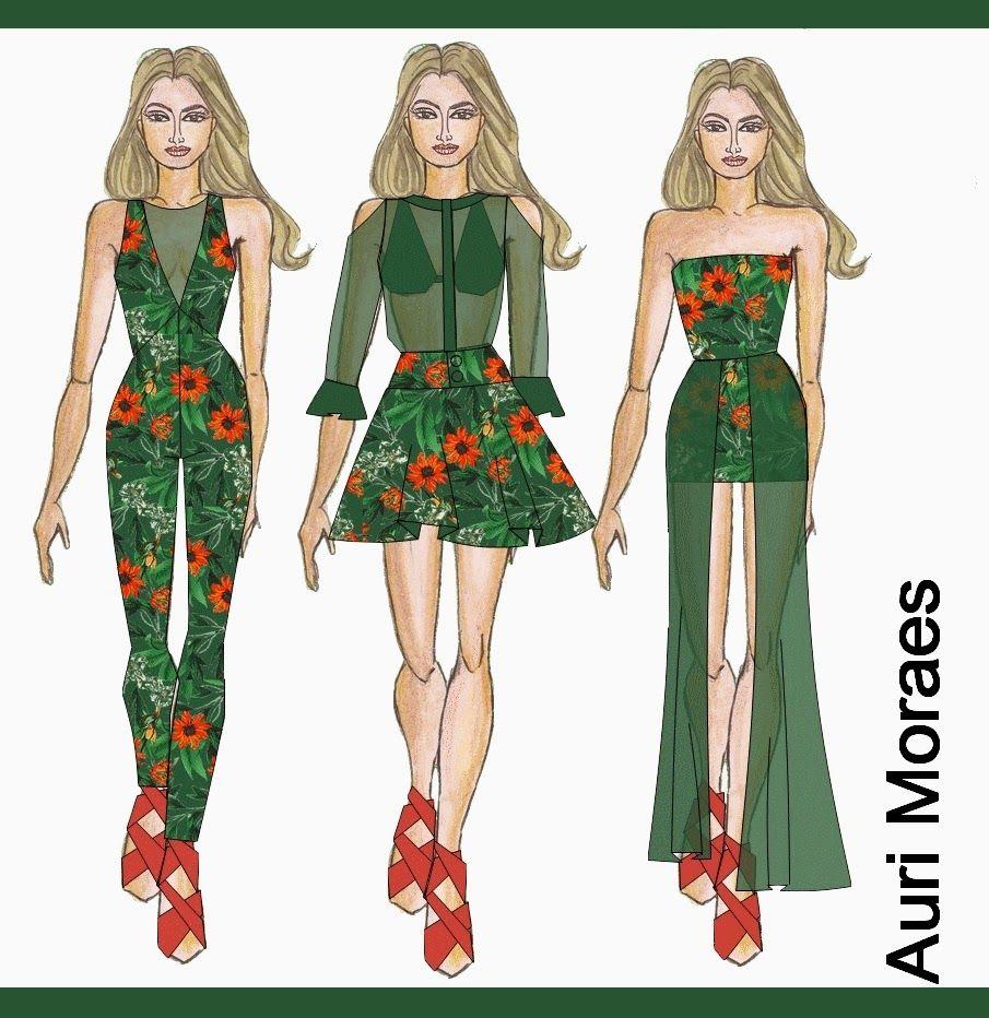 Auriele (desenhos de Moda): Floral + verde