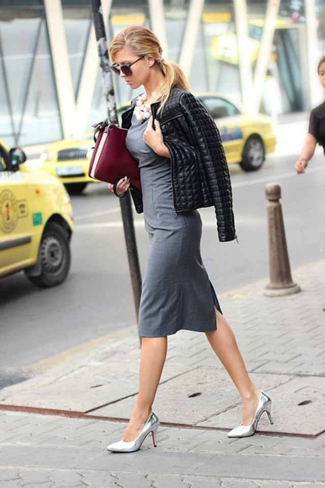 8d1ac517ff10  roressclothes closet ideas  women fashion outfit  clothing style apparel  Black Leather Jacket and Grey Dress Outfit for Winter 2015