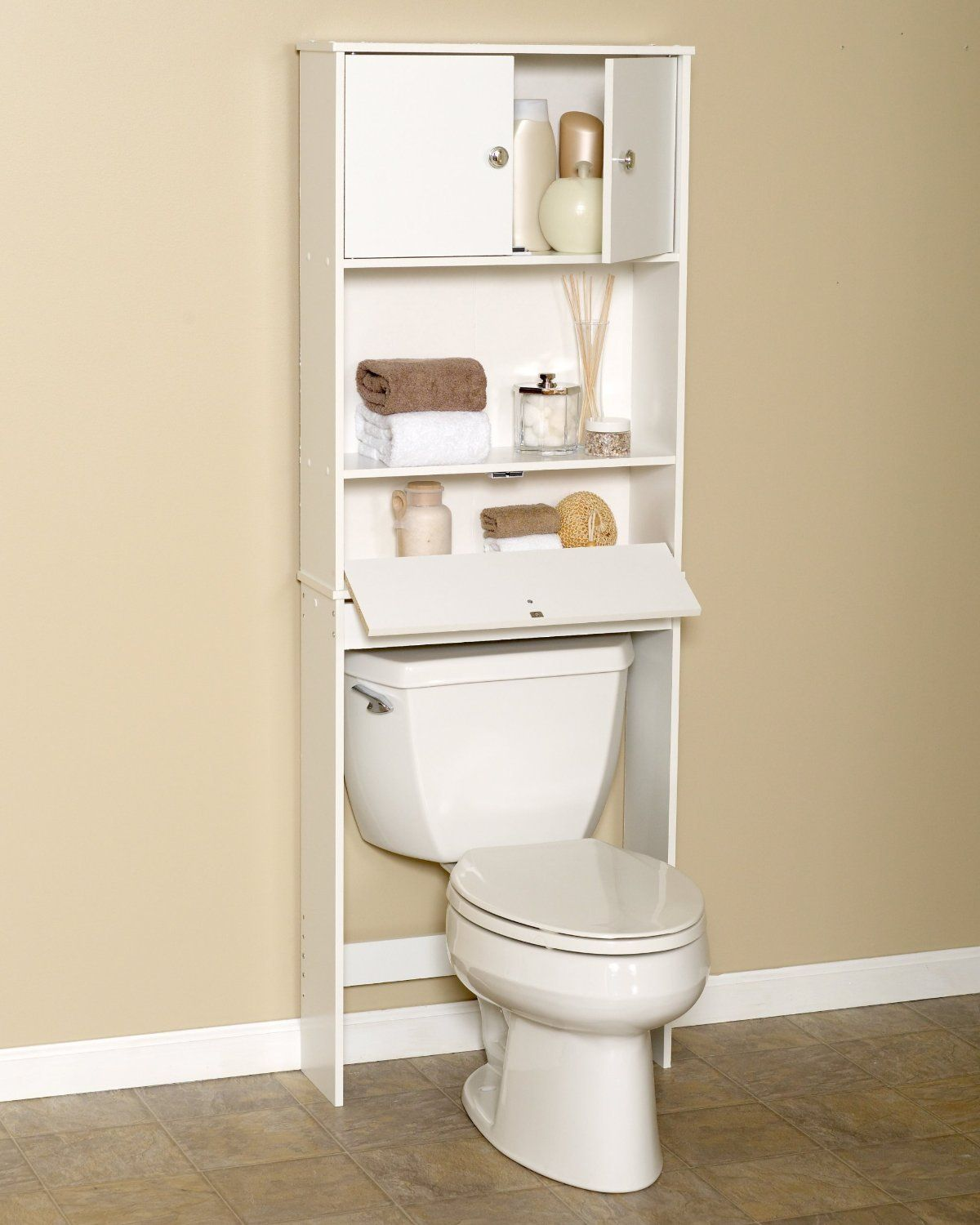 Amazon.com - Storage Cabinet White Over the Toilet Bathroom ...