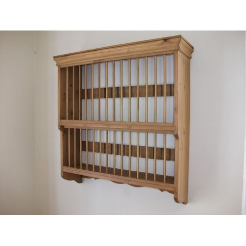 Country Pine Wall Plate Rack   30 Plate