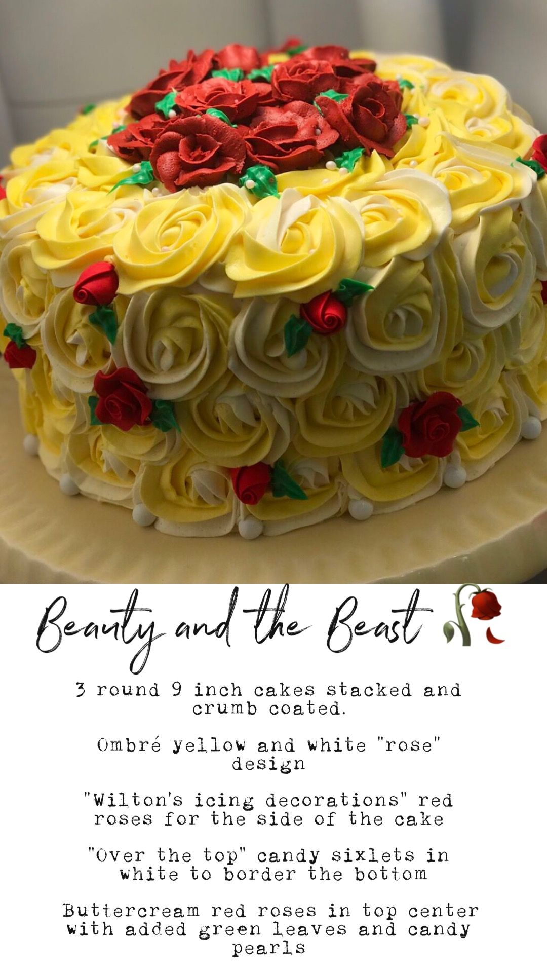 3 Round 9 Inch Cakes Stacked And Crumb Coated Ombre Yellow And