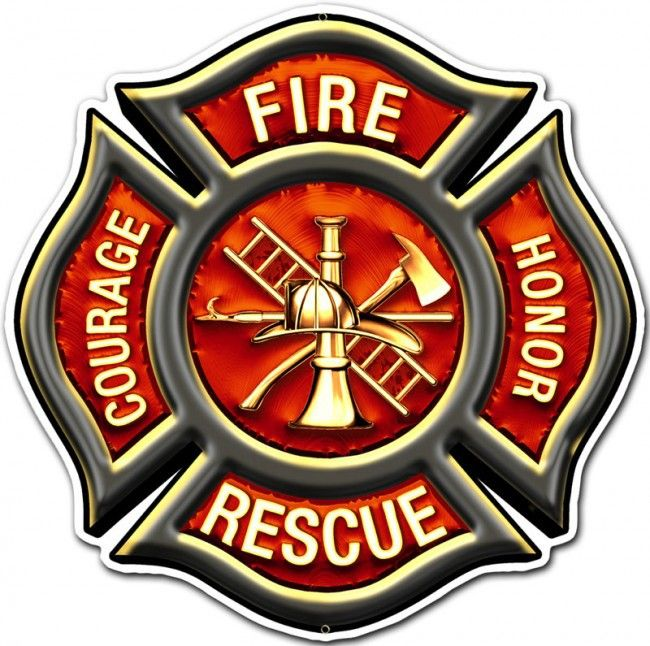 FIRE RESCUE EMBLEM Metal Wall Sign (16X16) Firefighter