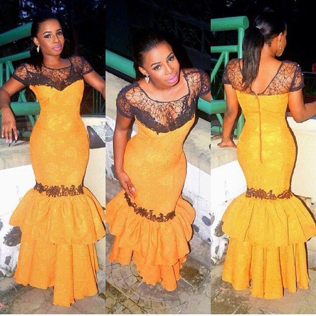 Nigerian wedding mustard yellow and black ore-iyawo aso-ebi color combination