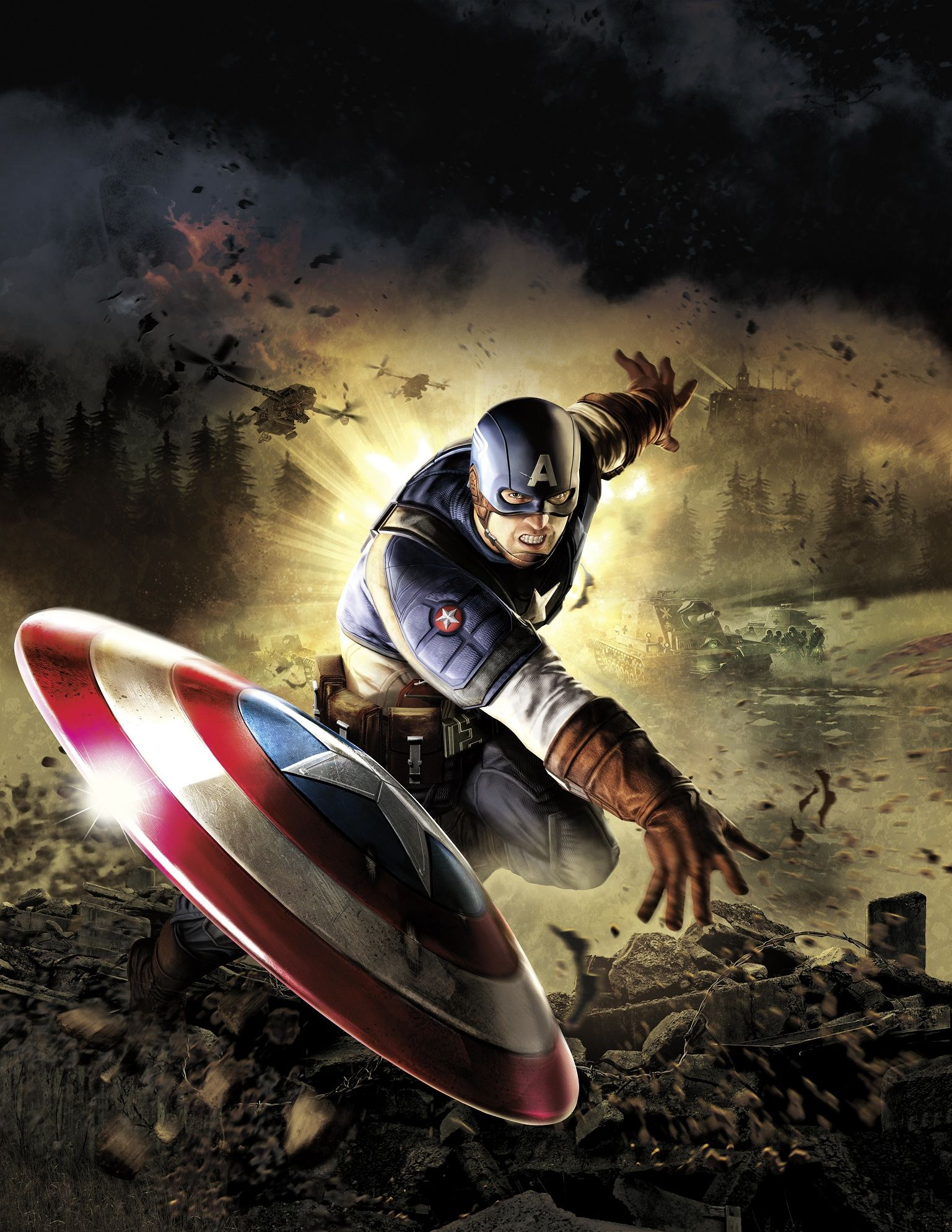 Download captain america broken screen live wallpaper Android Live
