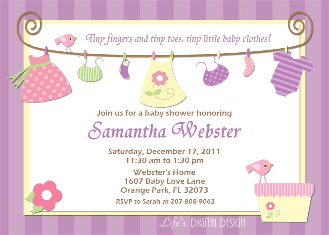 Baby girl shower invitations free printables baby choose for Online baby announcement templates