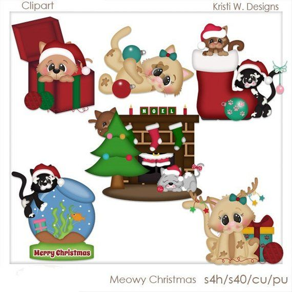 DIGITAL SCRAPBOOKING CLIPART - Meowy Christmas | Digital ...