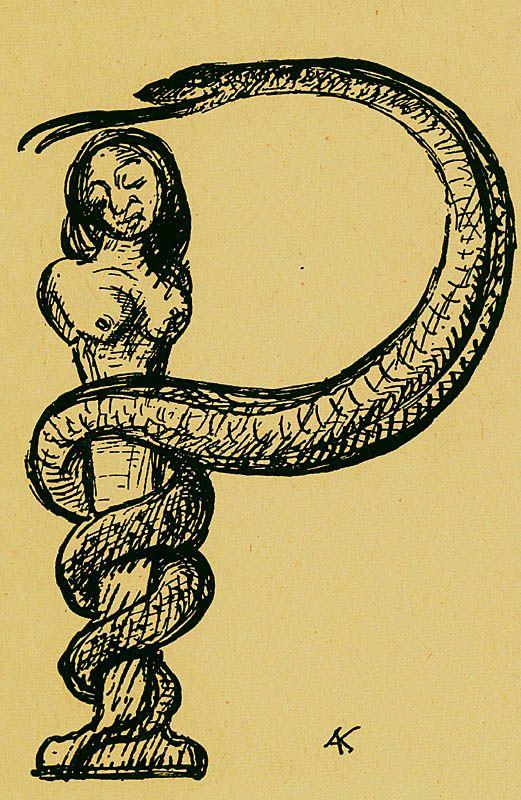TitleP: Die bedrängte Herme  Mediumwoodblock  BookAlfred Kubin. Ein Bilder: ABC. Hamburg : Maximilian-Gesellschaft, E.V., 1948.  NotesP: Hermes stressed!  ThemeThe Grotesque