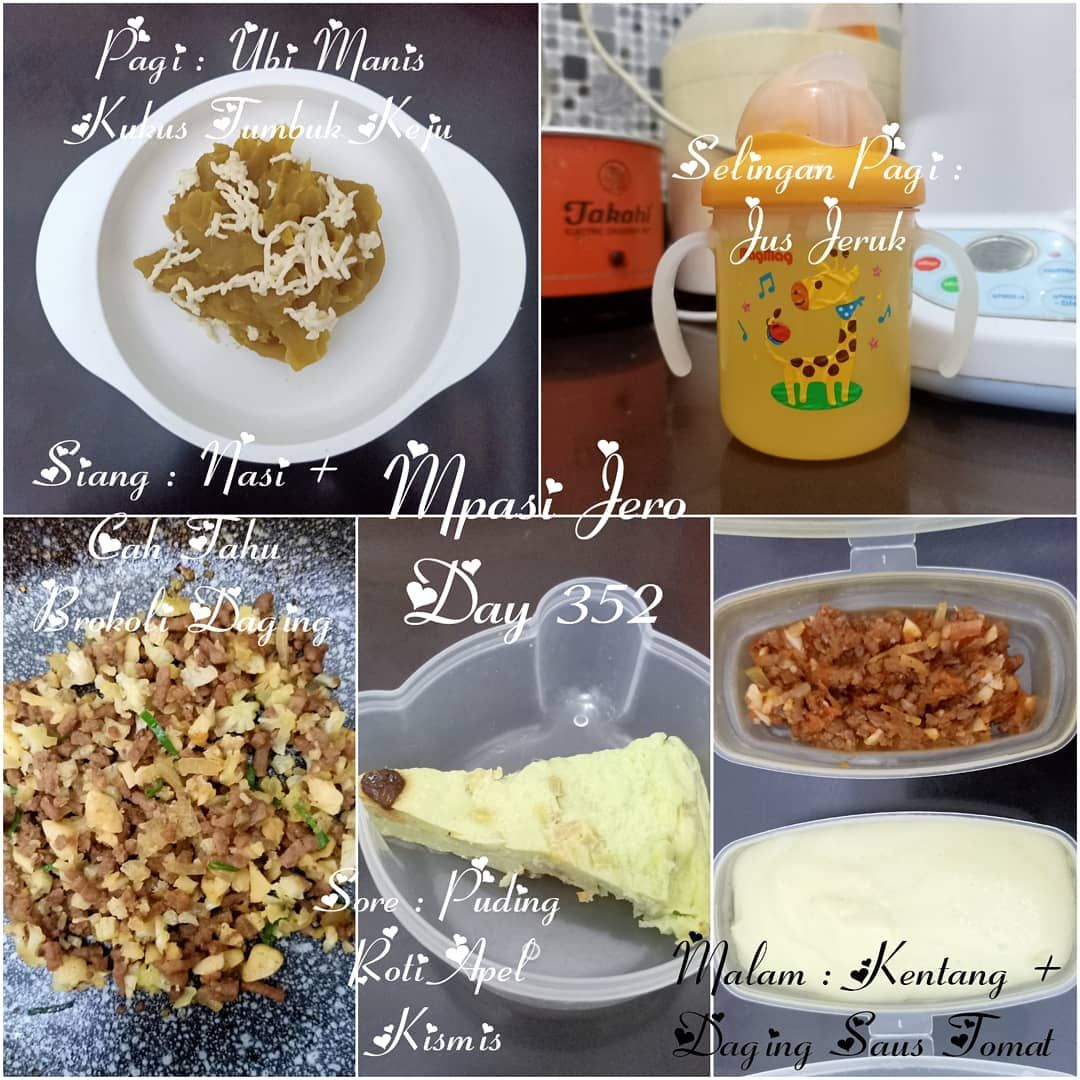Mpasi Jeroarsalantarendraprasetya Day 352 Pagi Ubi Manis Kukus Tumbuk Keju Selingan Pagi Jus Jeruk Siang Baby Food Recipes Homemade Baby Food Baby Puree
