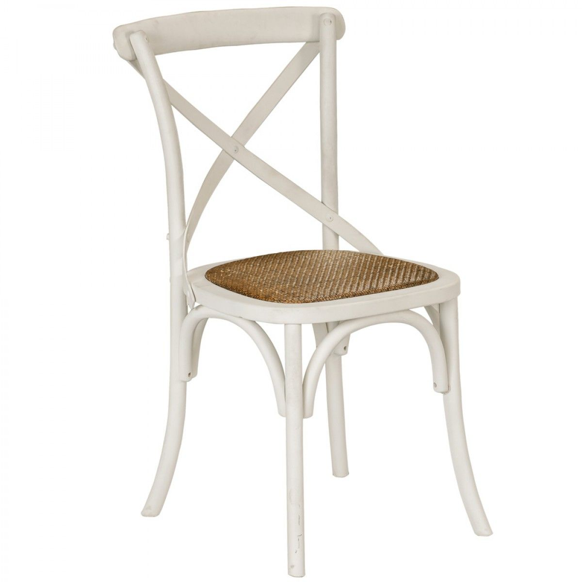 Provincial Cross Back Chair Vintage White   Chairs U0026 Barstools   Dining