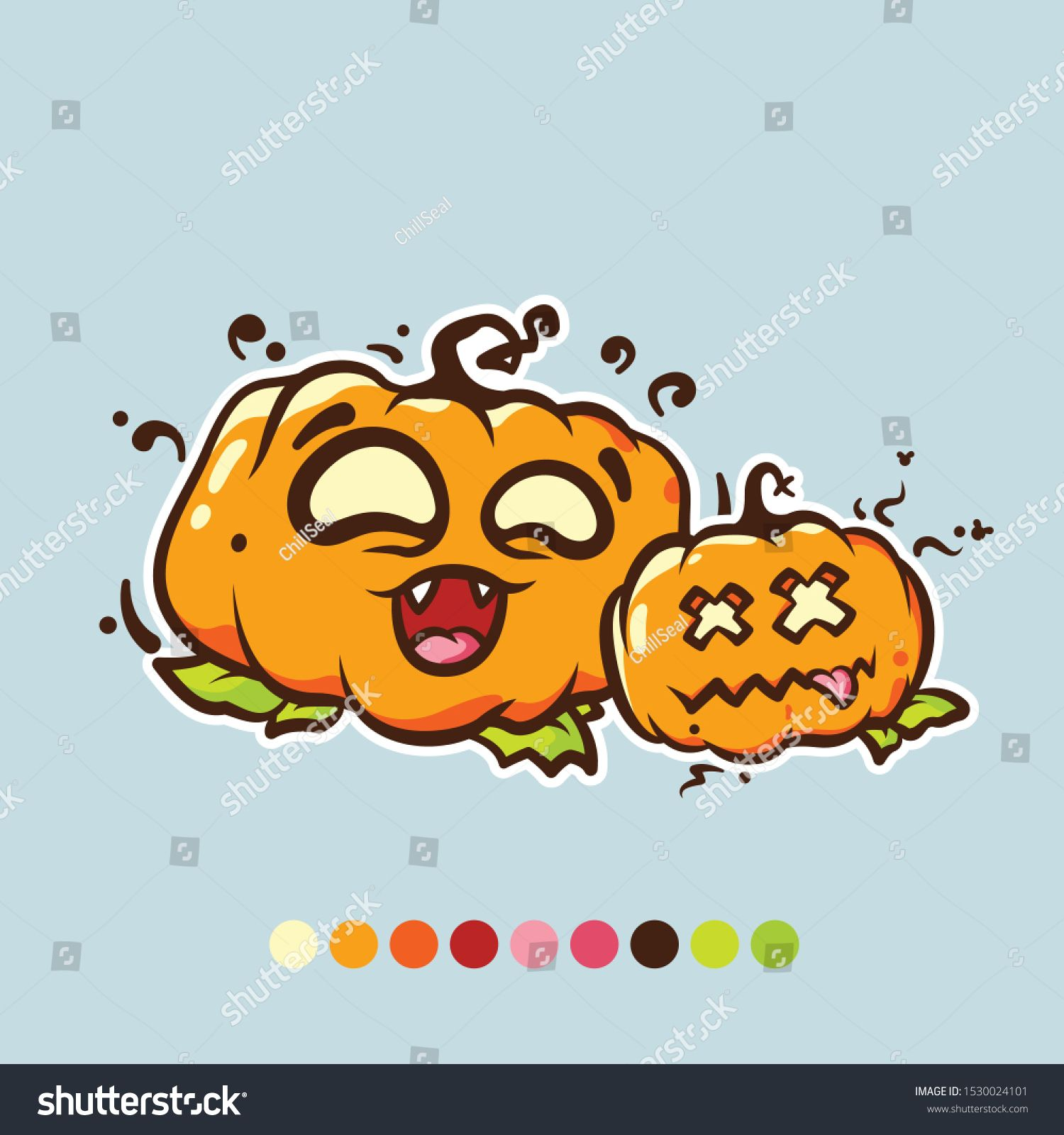Cartoon vector pumpkin for Halloween. Funny pumpkin. Clip